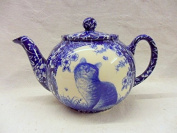 2 cup teapot in blue cat design by Heron Cross Pottery.