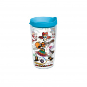 Tervis Mexican Skeletons Individual Wrap Tumbler with Turquoise Lid, 470ml, Clear