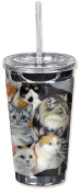 "Mugzie 174-TGC ""Just Cats"" To Go Tumbler with Insulated Wetsuit Cover, 470ml, Black"