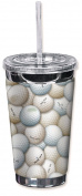 "Mugzie 6500-TGC ""Golf Balls"" To Go Tumbler with Insulated Wetsuit Cover, 470ml, Black"