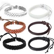 6pcs Oidea Mens Womens Adjustable Leather Woven Wristband Bracelet for Couples, Fit for Wrist 7-27cm