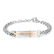 JewelryWe Cross Love Stainless Steel His and Hers Couple Bracelets, Anniversary Gift