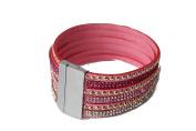AKB21 Bracelet Rhinestone Rivet Crystal Leather Bracelet Magnetic Clasp