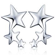 Yumilok Jewellery 925 Sterling Silver Cubic Zirconia Womens Stars Studs Ear Cuffs Hypoallergenic Wrap Earrings
