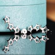 Yumilok Jewellery 925 Sterling Silver Womens Hollow Stars Studs Ear Cuffs Wrap Earrings, Hypoallergenic
