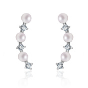 Yan & Lei Sterling Silver 3 MM Simulated Round Shell Pearl and CZ Ear Climbers Ear Cuff Earrings