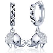 Yumilok Jewellery 925 Sterling Silver Cubic Zirconia Elephant Drops Dangles Womens Hoop Creole Earrings, Hypoallergenic