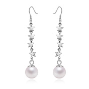 Yan & Lei Sterling Silver Stars with 8 MM Simulated Round Shell Pearl Fish Hook Dangling Earrings