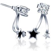 Yumilok Jewellery 925 Sterling Silver Cubic Zirconia Black Epoxy Little Stars Studs Drops Dangles Earring Jackets for Women/Ladies/Girls