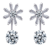 Yumilok Jewellery 925 Sterling Silver Cubic Zirconia Womens Snowflake Studs Front and Back Earrings Earring Jackets, Hypoallergenic