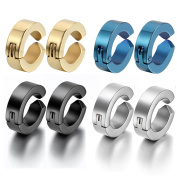 Oidea 8pcs Assorted Colour Stainless Steel Mens Womens Non-Piercing Earrings, Clip on Non Piered Hinge Hoop Earrings,Hypoallergenic