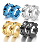 Oidea 8pcs Assorted Colour Stainless Steel Mens Womens Clip On Earrings Hoop Huggie Non-Piercing Hypoallergenic