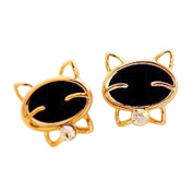 TININNA Cute Cat Bling Crystal Rhinestone Earring Studs for Women Ladies Girls Golden