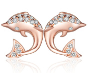 Yumilok Jewellery 925 Sterling Silver Rose Gold Plated Cubic Zirconia Womens Dolphins Studs Hypoallergenic Earrings