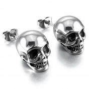 MENDINO Stainless Steel Stud Earrings Gothic Skull Cubic Zirconia Silver Black Mens Womens with Gift Pouth