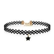 Lace Tattoo Black Star Pendant Choker Collar Pentagram Charm Jewellery Gothic Necklace For Girls Women