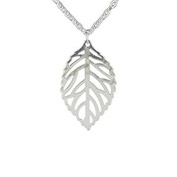 Minifamily® Fashion Hollow Out Leaf Shape Silver Colour Pendant Necklace(1 Pc) Come With Free Unique Ring and Rubber Wrist Band