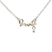 Minifamily® Women's Love Symbol Alloy Crystal Pearl Pendant Necklace Come With Free Unique Ring and Rubber Wrist Band