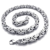 Minifamily® Stainless Steel Biker Mens Necklace Chain, Colour Silver, 8mm,26inches Come With Free Unique Ring and Rubber Wrist Band
