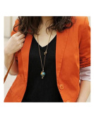 Minifamily® Terrestrial Globe Shape Copper Necklace Come With Free Unique Ring and Rubber Wrist Band