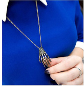Minifamily® Vintage Alloy Skull's Hand Pattern Necklace Come With Free Unique Ring and Rubber Wrist Band
