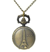 Minifamily® Vintage Bronze Paris Eiffel Tower Shape Pendant Necklace Watch Come With Free Unique Ring and Rubber Wrist Band
