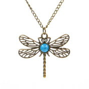 Minifamily® Vintage Dragonfly Sweater Chain Necklace Dh01 Come With Free Unique Ring and Rubber Wrist Band