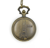 Minifamily® Metal Vintage Bronze Paris Eiffel Tower Pendant Necklace Watch Come With Free Unique Ring and Rubber Wrist Band