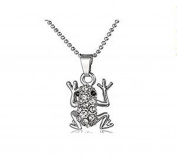 Minifamily® Fashion Alloy Bling Bling Shine Frog Silver Pendant Necklace Come With Free Unique Ring and Rubber Wrist Band