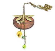 Minifamily® Vintage Wood Coppery Plated Flying Dragonfly Shaped Art Necklace Come With Free Unique Ring and Rubber Wrist Band