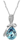 Minifamily® Classic (Angel Tears) Platinum-Plated Crystal Necklace Blue Come With Free Unique Ring and Rubber Wrist Band