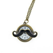 Minifamily® Vintage Bronze Moustache Shape Pendant Necklace Watch Come With Free Unique Ring and Rubber Wrist Band