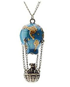Minifamily® Hot Air Fire Balloon Shape Metal Necklace Come With Free Unique Ring and Rubber Wrist Band