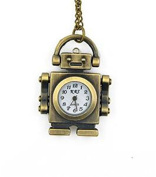 Minifamily® Vintage Bronze Robot Shape Pendant Necklace Watch Come With Free Unique Ring and Rubber Wrist Band