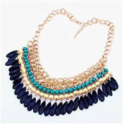 Minifamily® Women's Vintage Multiple Colour Water Droplets Acrylic Evening Bib Choker Come With Free Unique Ring and Rubber Wrist Band