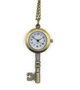 Minifamily® Vintage Bronze Key Shape Pendant Necklace Watch Come With Free Unique Ring and Rubber Wrist Band