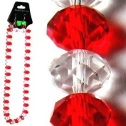 Red & Clear Faceted Crystal Necklace & Earrings