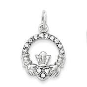 Sterling Silver Claddagh with Crystal Pendant Charm Nickel Free