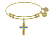 Brass Yellow Cross Charm Created Opal On Angelica Collection Bangle