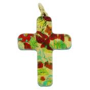 Murano Glass Venetian Reflections Cross Pendant - Red Green
