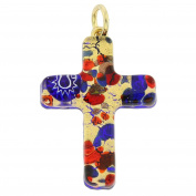 Murano Glass Venetian Reflections Cross Pendant - Blue Red