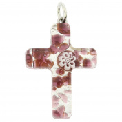 Murano Glass Venetian Reflections Cross Pendant - Purple Silver