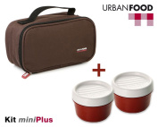TATAY Brown MiniPlus Urban Food - Thermal Lunch Box Bag Food with 3 Airtight Food Storage Containers Included, 1 Oval of 0.5L plus 2 Round of 0.2L, Colour Brown, Measures 21.5 x 9 x 12 cm
