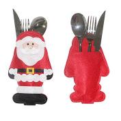 Toyobuy 6PCS Christmas Santa Cutlery Bags Silverware Holder Table Decoration