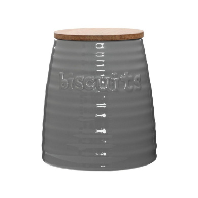Protege Homeware Grey Dolomite Bamboo Lid Winnie Biscuit Canister