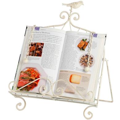 Antique Cream Metal Recipe Cookbook Cook Book Holder Stand with Little Bird