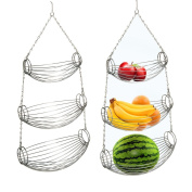3 TIER TIERED CHROME HANGING FRUIT BASKET VEGETABLE FOOD HAMMOCK KITCHEN  STORAGE