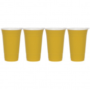 Culver Party Cup Double Walled Insulated Tumbler with Slide Lid, Yellow, Set of 4