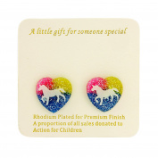 Childrens unicorn earrings - Clip on earrings with gift bag