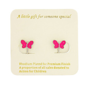 Butterfly Clip on Earrings - Rhodium finish - Includes organza bag